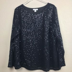 Coldwater Creek Sparkly Black Sequin Plus Size Top